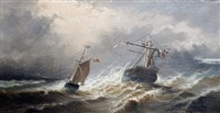 french ships in a swell by paul angé nocquet