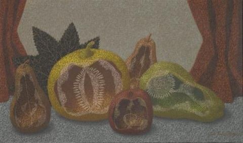 still life with pears, apple and squash by john armstrong