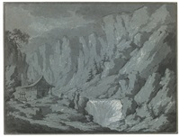 mountain landscape with waterfall by claude louis châtelet