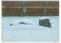 rock garden in snow (set of 3) by shinkichi (kaii) higashiyama
