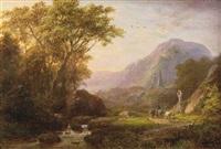 a mountainous summer landscape with cattle and a church beyond by johann bernard klombeck