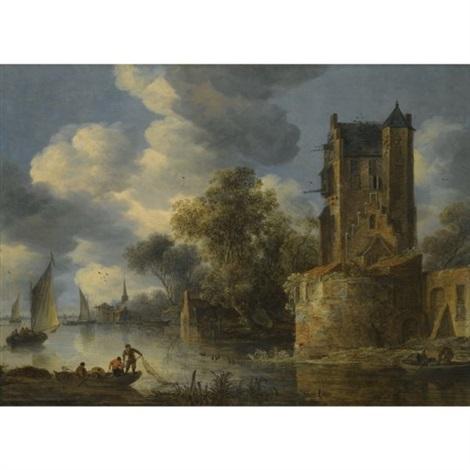 river landscape with a bastion by adriaen van der cabel