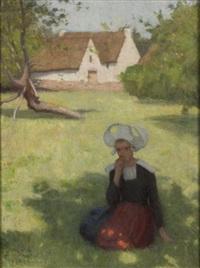 bretonne dans un paysage by etienne azambre