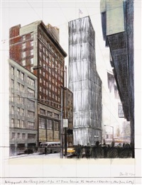 wrapped building, project for #1 times square by christo and jeanne-claude