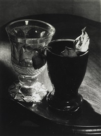 still life (two glasses with rose) by josef sudek