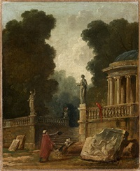 le mendiant et le perroquet by hubert robert