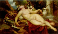 a bacchante reclining on a tiger by victor tardos-krenner
