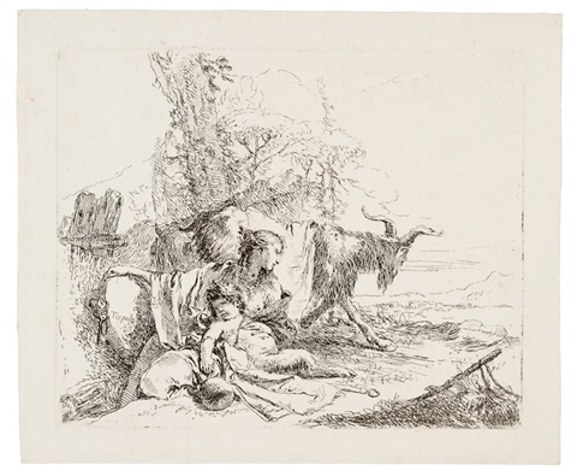 ninfa con un piccolo satiro e due capre by giovanni battista tiepolo