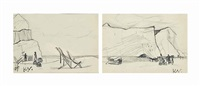 two views of figures on a beach; and two views of a country lane (4 works) by keith vaughan