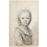 portrait of a young boy, thought to be the dauphin, later louis xvii by augustin de saint-aubin