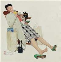 woman relaxing with tea after shopping by norman rockwell