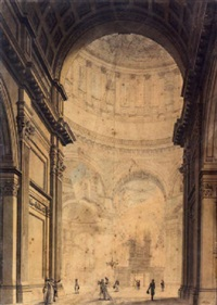 the interior of st. paul's cathedral by thomas malton the younger