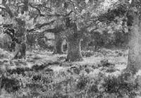 la clairière au grand chêne et aux fougères by jean emile renié