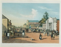 adelaide, hindley street from the corner of king william street, lookin west. plate 41 from south australia illustrated by samuel thomas gill
