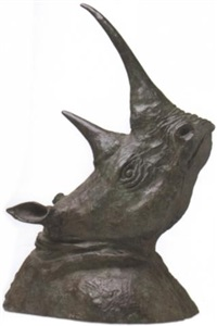 rhino bust by john hermann