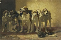 chiens de chasse au repos by philippe rousseau