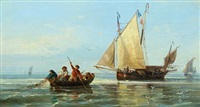 dutch fishermen pulling in the catch by a. gins