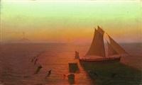 ein schiff auf dem meere von delphinen umschwärmt by august kopisch