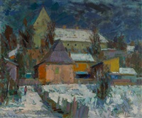 widok zimowy miasteczka by eugeniusz arct