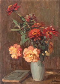 vase with roses and zinnias by constantin artachino