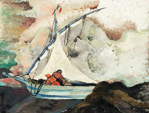 segelboot bei vietri unweit von neapel by heinrich ehmsen