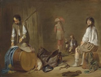 soldiers at rest in a guardroom by jacob duck