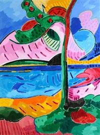 arbre au bord de la mer by jacques pons