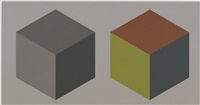 double cubes in grays and colors superimposed by sol lewitt