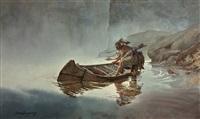 indian entering canoe by david allen halbach