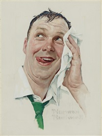 perspiring man by norman rockwell