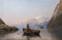 fischer und dampfschiff im fjord by georg anton rasmussen