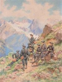la halte des chasseurs alpins en montagne by pierre comba