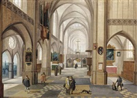 the interior of a gothic church with gentlemen conversing by hendrick van steenwyck the younger