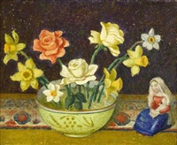 still life of daffodils and roses by emma fordyce macrae