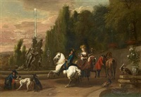 elegant figures on horseback departing for the hunt by dirk maes