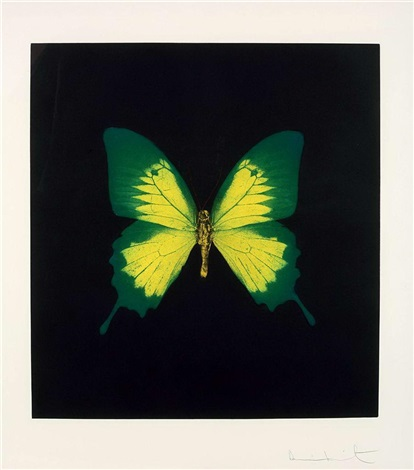 green - yellow butterfly from memento by damien hirst