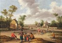 paysans à l'entrée d'un village by joost cornelisz droochsloot