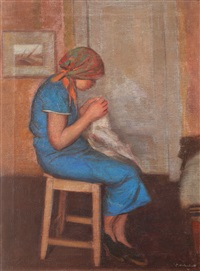 little girl sewing by constantin artachino