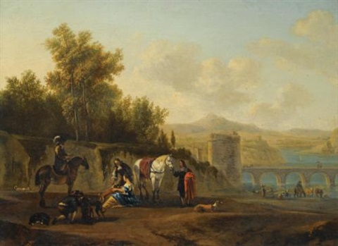 an extensive italianate river landscape with travellers resting on a path by gerrit adriaensz berckheyde