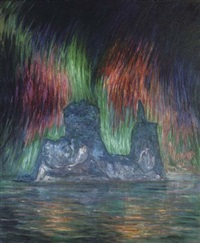 iceberg with the aurora borealis by frank wilbert stokes