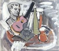 ohne titel (stilleben mit rosa gitarre) by joachim heuer