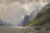 fjordlandskap med folkeliv by georg anton rasmussen