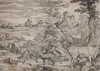 die landschaft mit der kuhmelkerin (after titian) by niccolo boldrini