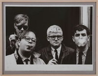 andy warhol, henry geldzahler, david hockney and jeff goodman by dennis hopper