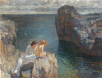 a mother and her daughter sitting in the sun on the rocks, bornholm by ferdinand kruis