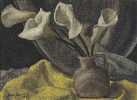 calla lillies in a vase by john armstrong