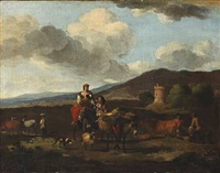 italian landscape. in the foreground a peasant woman riding a donkey by karel dujardin