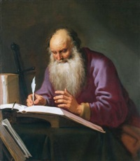 saint paul the hermit writing in his study by lambert jacobsz