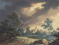 a rider thrown from his horse in a storm, beside a tree struck by lightning and two fishermen beside a river in a rocky landscape (a pair) by henri-joseph van blarenberghe