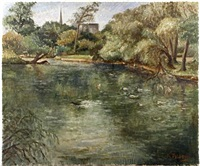 pond with ducks and building beyond by kathleen tyson